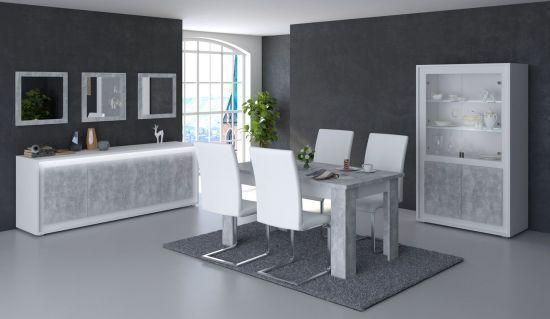 Salle à manger complète table 160 cm Neon blanche et grise effet béton