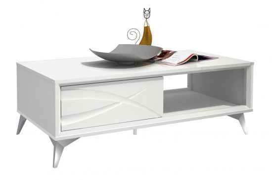 Conseils Table Basse Design 1 Tiroir 1 Niche Blanc Brillant