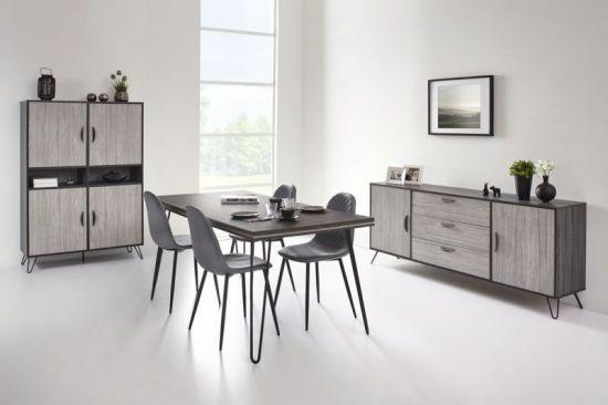 buffet industriel table Viseo manger bahut chêne 180cm Salle style gris à ZuPTOXik