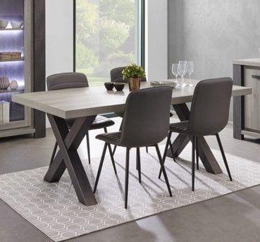Table de salle à manger moderne chêne gris Lionel 185 cm