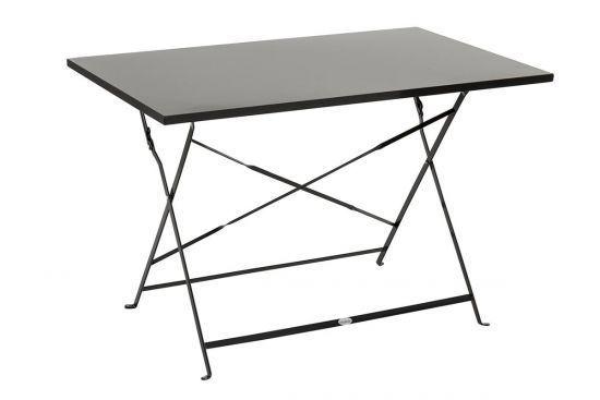 Table de jardin pliante Camargue noire rectangulaire