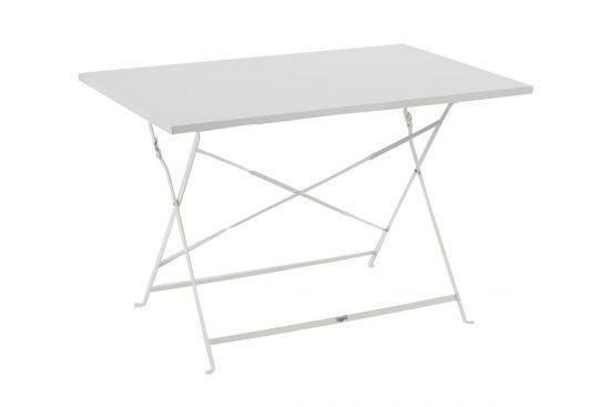 Table de jardin pliante Camargue blanche rectangulaire