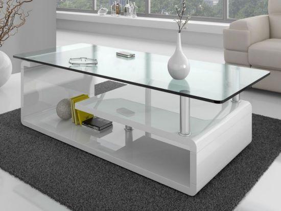 Table Basse Rectangulaire Design En Verre Vora Blanc Laqué