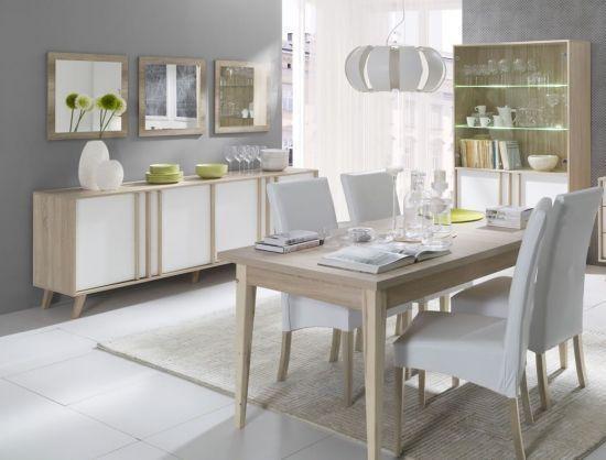 Salle à manger complète Lisieux style scandinave chêne sonoma / blanc 180  cm.