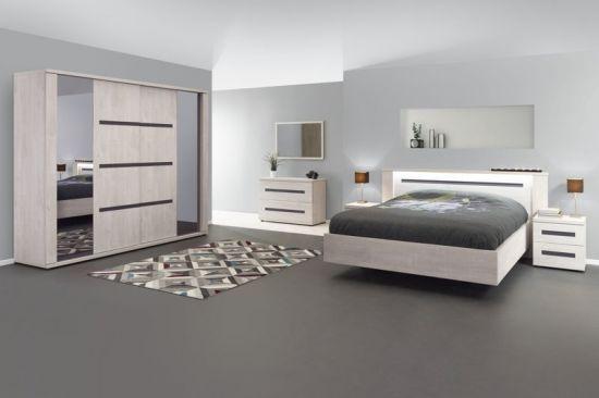 Chambre à coucher complète adulte design avec éclairage Lumix 140 cm