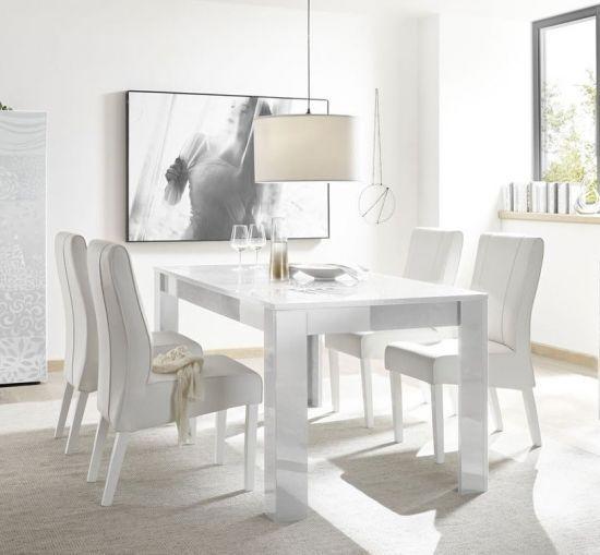 Table de salle à manger design avec sérigraphies blanc laqué brillant  Venise 180 cm