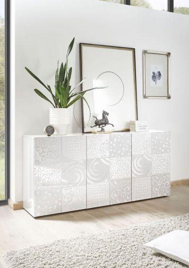 Buffet design avec sérigraphies 3 portes blanc laqué brillant Venise