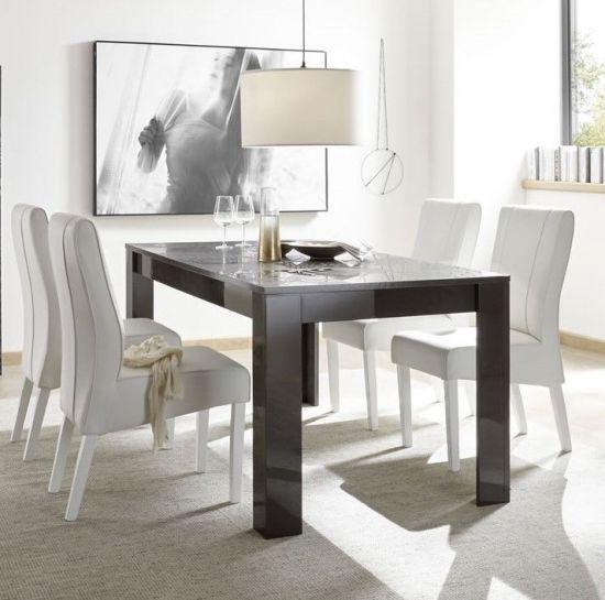 Table de salle à manger design avec sérigraphies gris foncé laqué brillant  Venise 180 cm