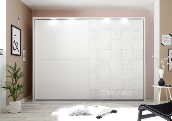 Armoire penderie design 2 portes coulissantes dont 1 sérigraphiée blanc  Parme 275 cm