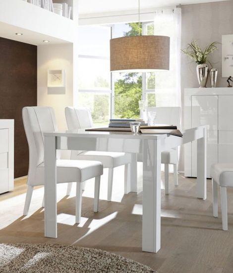Table de salle à manger rectangulaire blanc laqué brillant Turin