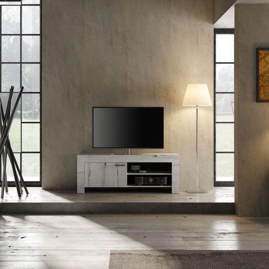 Meuble Tv Contemporain 1 Porte Avec Systeme Soft Closing Landy Chene Blanchi