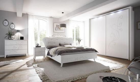 Chambre complète adulte avec spots d\'éclairage et sérigraphies pailletées  Balody blanc
