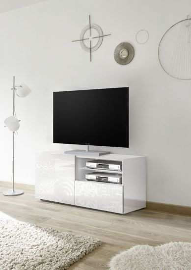 Meuble Tv 1 Porte 1 Tiroir Avec Serigraphies Blanc Laque Brillant Venise