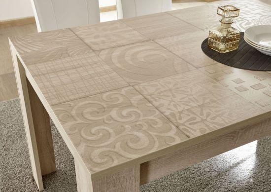 Table de salle à manger design avec sérigraphies beige Venise 180 cm