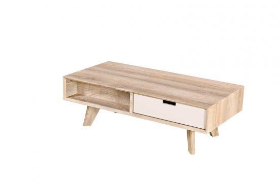 Table Basse Style Scandinave 1 Tiroir Coloris Bois Et Blanc Goza