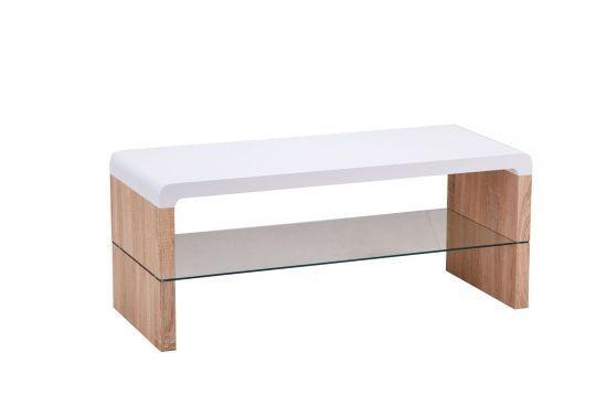 Meuble Tv Style Scandinave Tablette En Verre Chene Et Blanc Mat Matro