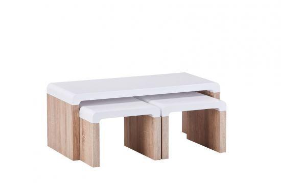 Table Basse Gigognes Style Scandinave Blanc Mat Et Chene Matro