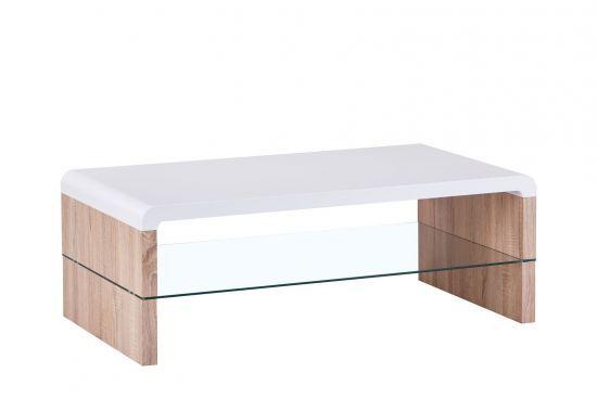 Table Basse Style Scandinave Blanc Mat Et Chene Matro