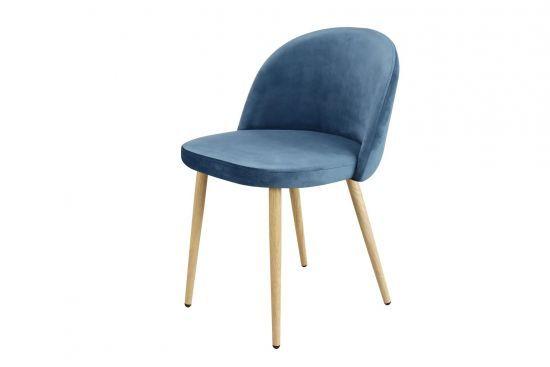 Lot rétro velours bleu Piaf pieds scandinave de 4 chaises D9WEH2I