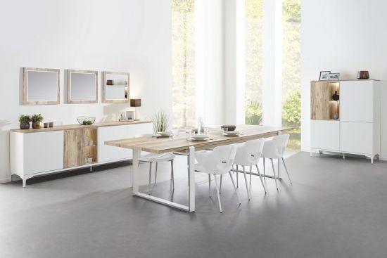 Salle à manger complète table 160 à rallonge bois naturel et blanc Vorane