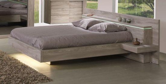 Chambre à coucher adulte lit avec éclairage et armoire 220 cm Songa