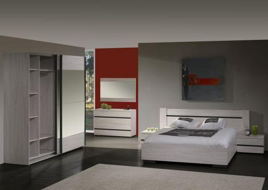 Chambre à coucher contemporaine 160 cm bois blanc Grata
