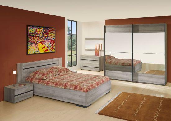 Chambre à coucher contemporaine 140 cm bois gris Grata