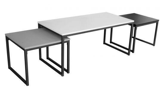 arrive 119a1 9a9d4 Lot de 3 tables basses gigognes Panda blanc noir et gris
