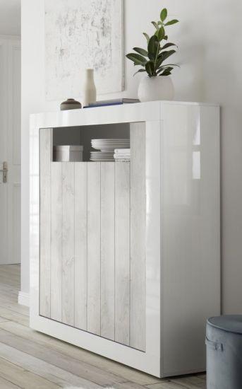 Meuble De Rangement Haut Salon.Meuble De Rangement Haut 2 Portes 1 Niche Blanc Laque Et Pin Blanc Charlie
