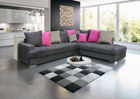 Canapé d\'angle droite Petra gris et rose