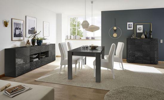 Salle à manger complète design avec sérigraphies gris foncé laqué brillant  Venise