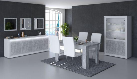 Table De Salle A Manger Blanche.Salle A Manger Complete Table 160 Cm Neon Blanche Et Grise Effet Beton