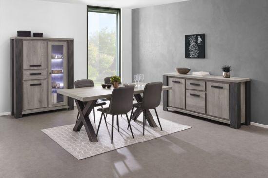 Salle à manger moderne bahut vaisselier à LED table chêne gris Lionel