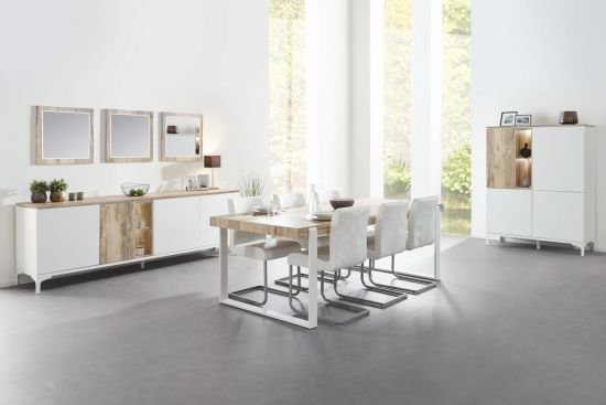 Salle à manger scandinave table 225 cm blanc et bois naturel Vorane