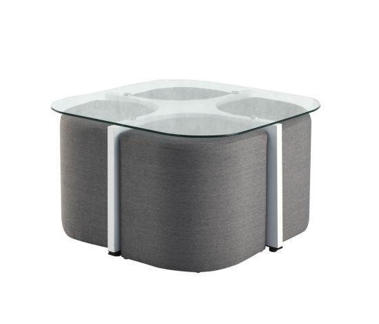 Table Basse Avec Tabouret.Table Basse Carree En Verre Avec Poufs Alban Blanc Et Gris