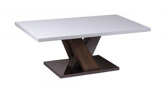 Table basse Midvale laqué blanc, pieds noir et effet bois