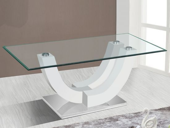 Table Basse Blanc Laque Rectangulaire.Table Basse Rectangulaire Design En Verre Vara Blanc Laque