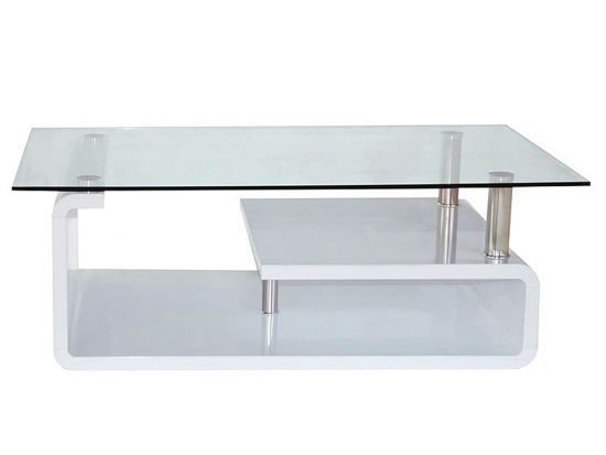 Table Basse Rectangulaire Design En Verre Vora Blanc Laque