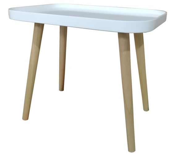 Table Basse D Appoint Style Scandinave Rocher Blanc Laque