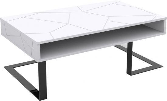Table Basse Design Blanc Pieds Chrome Noir Sliver