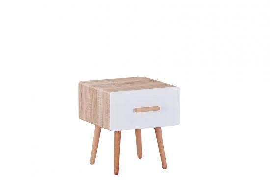 Table De Chevet Enfant Style Scandinave 1 Tiroir Hêtre Et Blanc Mat Heros