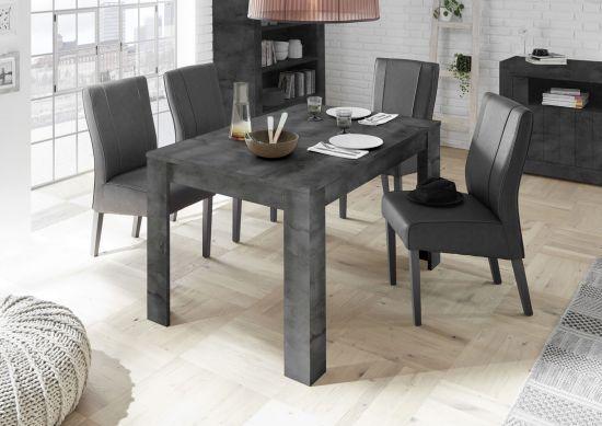 Table de salle à manger avec allonge gris foncé Charlie