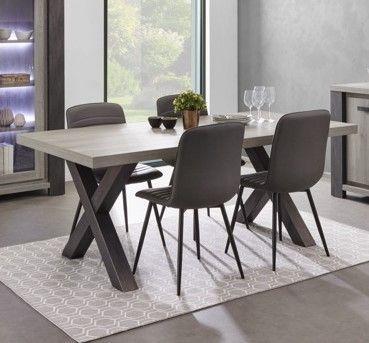 Table A Manger Moderne.Table De Salle A Manger Moderne Chene Gris Lionel 185 Cm