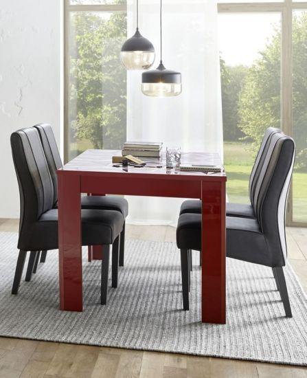 Table De Salle A Manger Serigraphiee Rectangulaire Laque Brillant Palerme Rouge