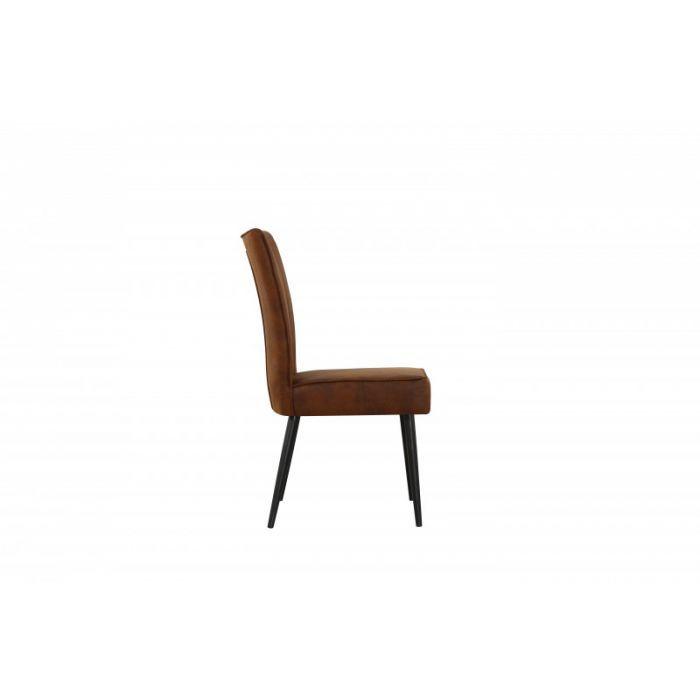 Lot de 2 chaises style rétro tissu brun Leston