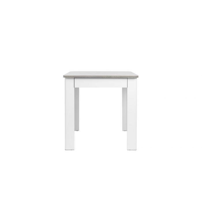 Table Carre 80 X 80 Cm Avec Tiroir Pino Blanc Et Beton Trocity