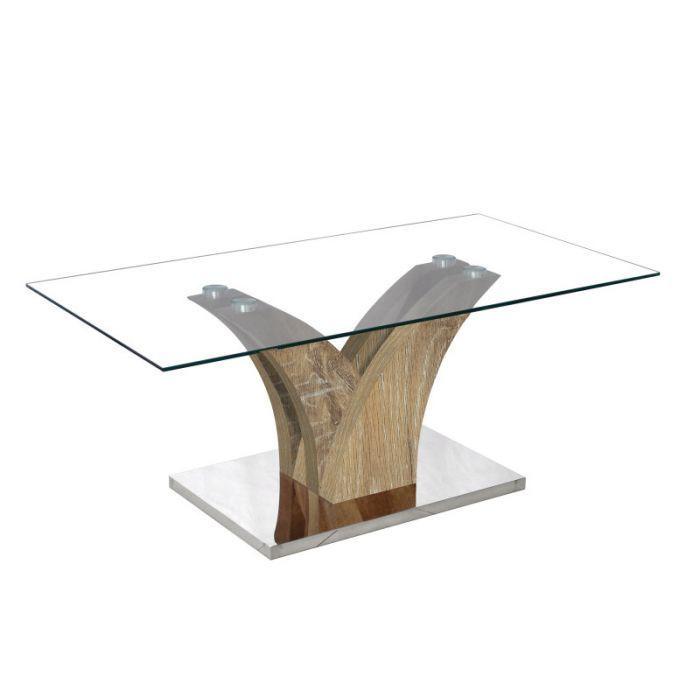 Table Basse Design En Verre Pied Bois Verga Chene Vieilli Trocity