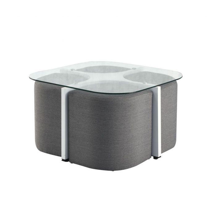 table basse carree en verre avec poufs alban blanc et gris