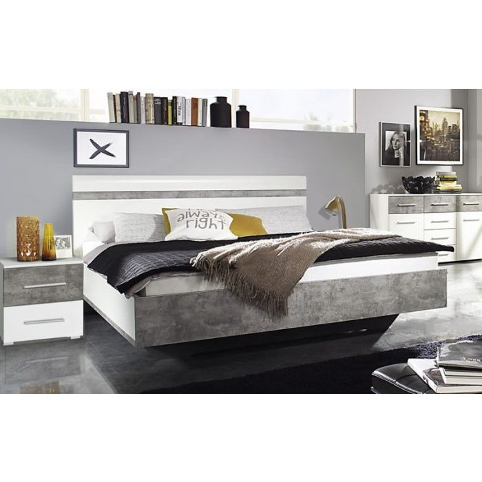 chambre complete adulte armoire 218 cm stoner blanc et beton lit 180 cm