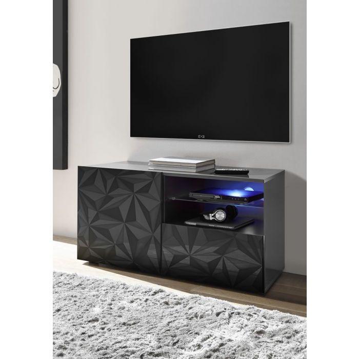 Meuble Tv Bas Design Serigraphie 1 Porte 1 Tiroir Laque Brillant Palerme Gris